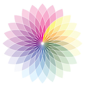 flower shaped color wheel in pastel colors