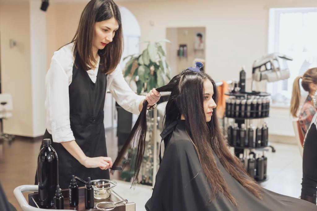 Woman working in a salon