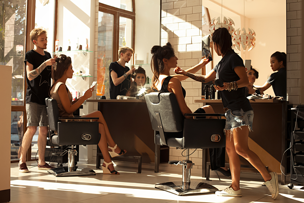 hairstylists working in a salon