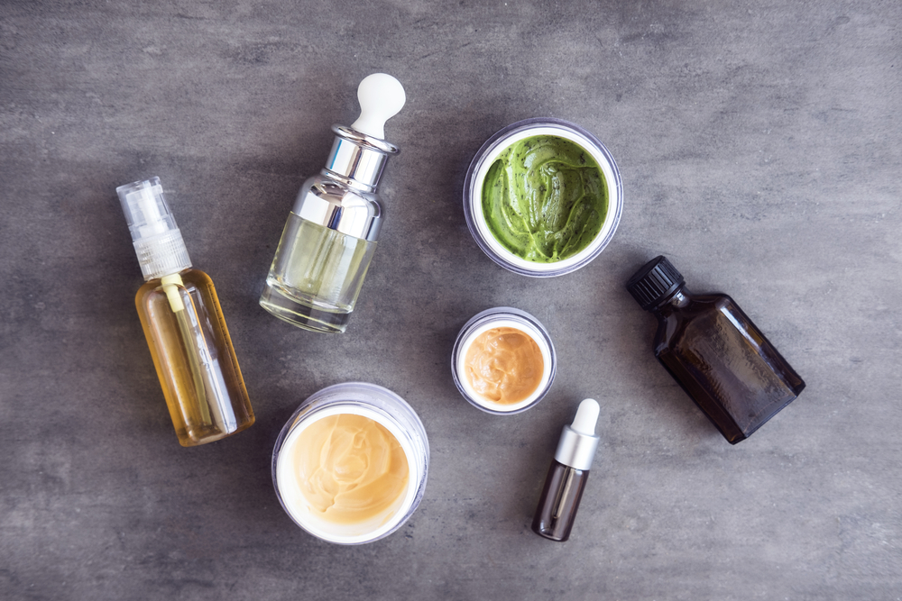 flat lay of organic beauty products